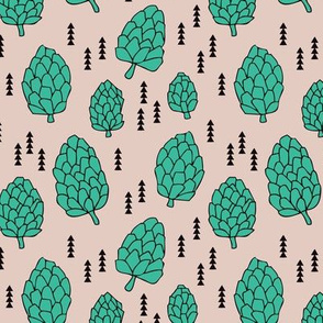 Pine cones winter and fall acorn forest theme in gender neutral mint