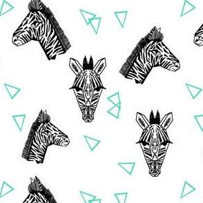 Zebras - White/Jade (Half-Size) by Andrea Lauren