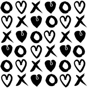 xoxo hearts // black and white hand-drawn illustration
