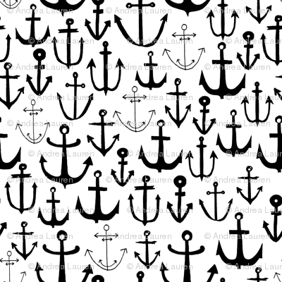 anchors // black and white nautical baby nursery fabric anchors fabric anchor design by andrea lauren