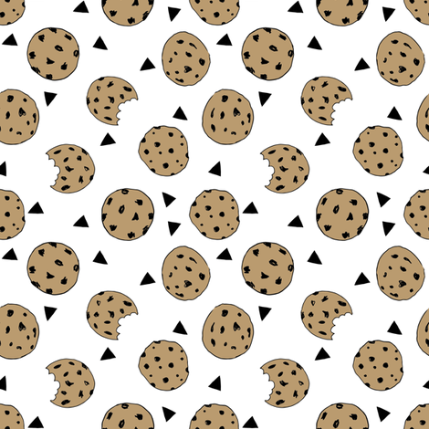 cookies // food chocolate chip biscuits kids triangle novelty small print fabric by andrea_lauren on Spoonflower - custom fabric