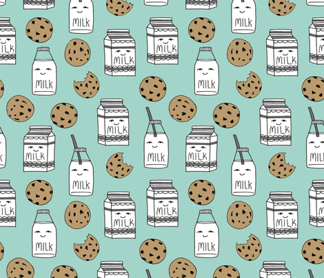 milk and cookies // mint food kids nursery baby kids fabric by andrea_lauren on Spoonflower - custom fabric