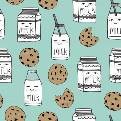milk and cookies // mint food kids cute novelty prints