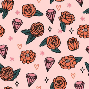 flowers // valentines love flower heart gem girly pink illustration repeating pattern