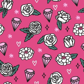 flowers // floral  pink valentines roses gems hearts valentines love gem jewels print