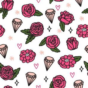 flowers // pink valentines jewels gem heart sparkle rose pink valentines love illustration