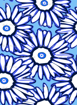 Shasta daisy dots on bright blue