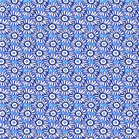 Shasta daisy dots on bright blue fabric by bargello_stripes on Spoonflower - custom fabric