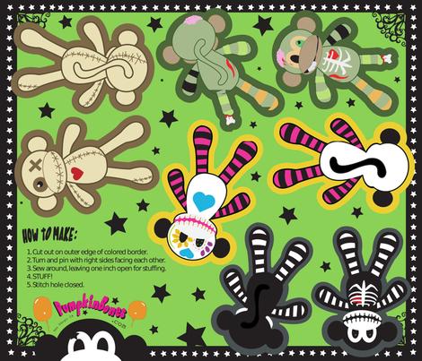 "FQ - 5"" x 7"" Pillow Dolls -  Core Four Monkeys Combo fabric by pumpkinbones on Spoonflower - custom fabric"