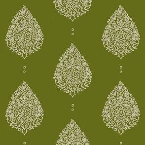 Moroccan Paisley  Olive - medium scale