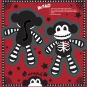 """TS - 4"""" x 6"""" Skeleton Monkey Cut & Sew Pillow Doll"""