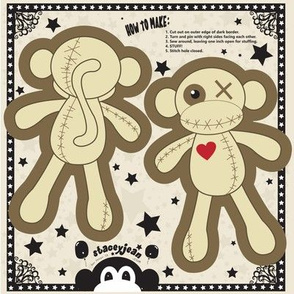 "TS - 4"" x 6"" VooDoo Monkey Cut & Sew Pillow Doll"