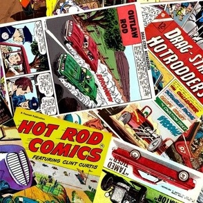 vintage comic book automotive - LARGE PRINT