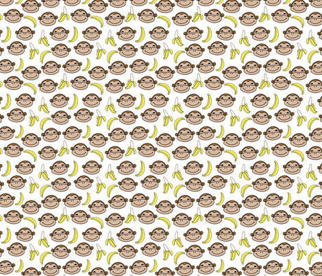 Happy Monkeys (Smaller Scale) - White by Andrea Lauren  fabric by andrea_lauren on Spoonflower - custom fabric