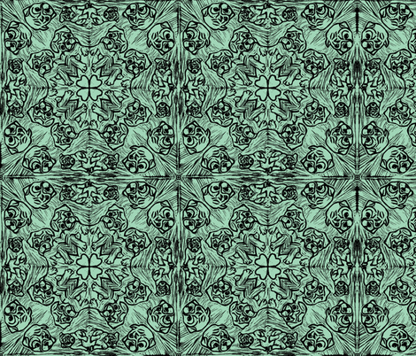 PUG_TILED_mintgreen fabric by gemma_elliott on Spoonflower - custom fabric