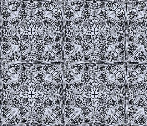 PUG_TILED_grey_blue fabric by gemma_elliott on Spoonflower - custom fabric