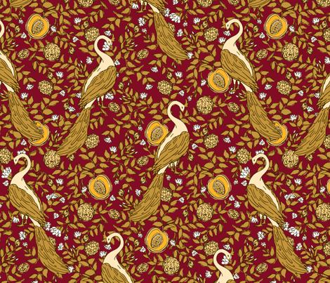Peacock Vineyard Red fabric by pond_ripple on Spoonflower - custom fabric