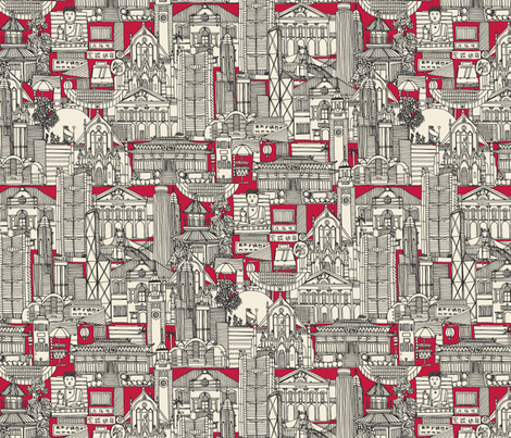 Hong Kong toile de jouy red fabric by scrummy on Spoonflower - custom fabric