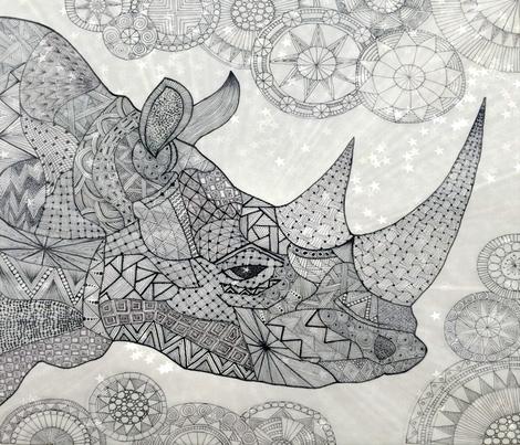 Rhino FQ B/W fabric by jenny_healy on Spoonflower - custom fabric