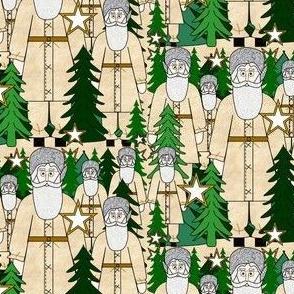 Woodland Santa, Trees & Stars Fabric #1
