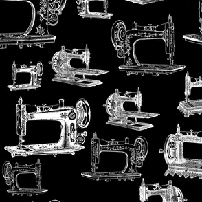 Vintage Sewing Machines - White on Black
