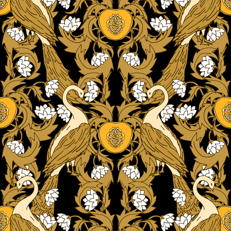 Peacock Vineyard Nouveau Black fabric by pond_ripple on Spoonflower - custom fabric