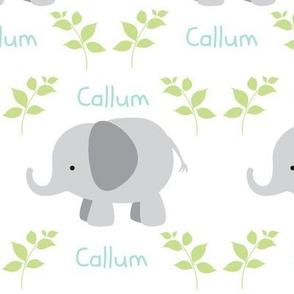 Elephants MED 6 - gray-green/mint text- PERSONALIZED Callum