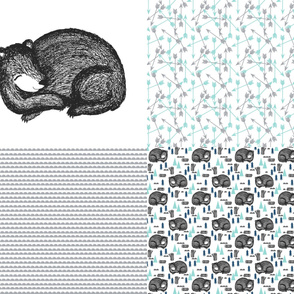 sleeping bear fq // bear fat quarter sampler fabrics bear plush fabric design cute bear