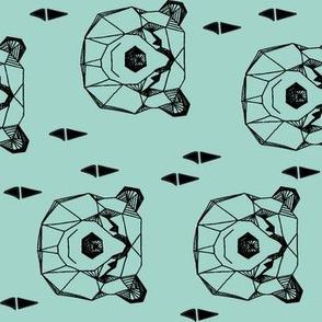 geo bear head // geometric bear head mint kids railroad boys nursery baby