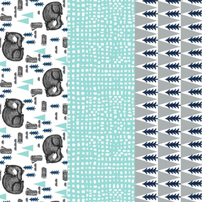 bear crib quilt // cheater quilt wholecloth  mint navy grey nursery quilt cute baby boy nursery sweet sleeping bear