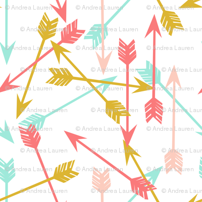 arrows // coral gold mint pink cute girls room girly arrows