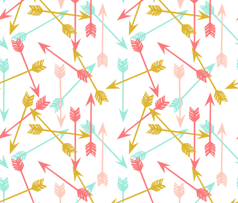 arrows // coral gold mint pink cute girls room girly arrows fabric by andrea_lauren on Spoonflower - custom fabric