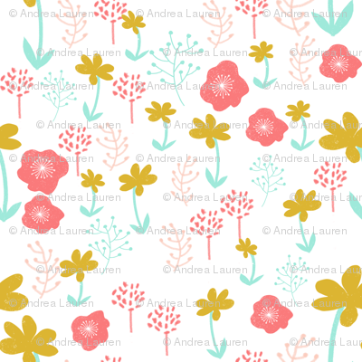 spring flowers // mint pink coral gold girly girls cute flowers florals illustration
