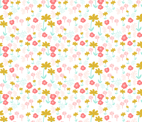 Spring Flowers Mint Pink Coral Gold Girly Girls Cute