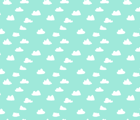 clouds // beach glass mint southwest pastel  fabric by andrea_lauren on Spoonflower - custom fabric