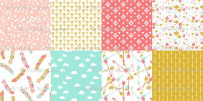 Cheater Quilt Squares // southwest girls nursery pastel