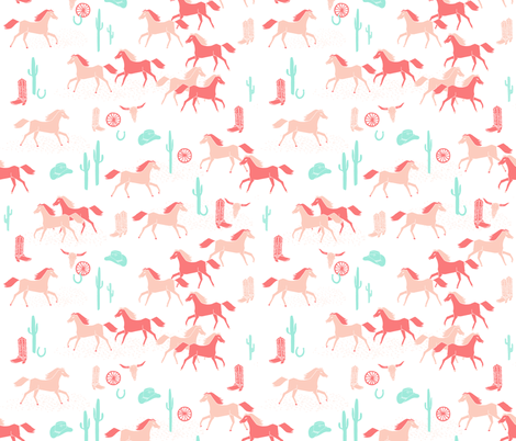 southwest baby girl // horses cactus cowgirl  fabric by andrea_lauren on Spoonflower - custom fabric