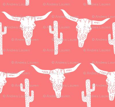 skull southwest baby quilt nursery cactus desert