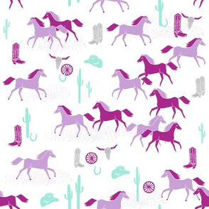 texas horses // cactus longhorn skull cactus cowgirl pastel