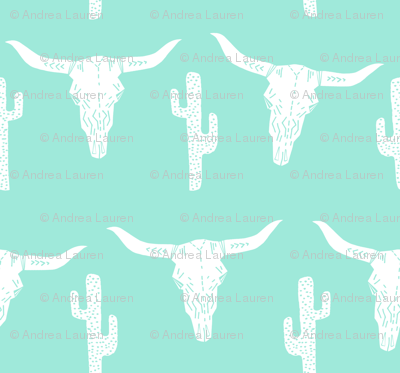 Longhorn Skull Texas Mint Green Antlers Girly Horse