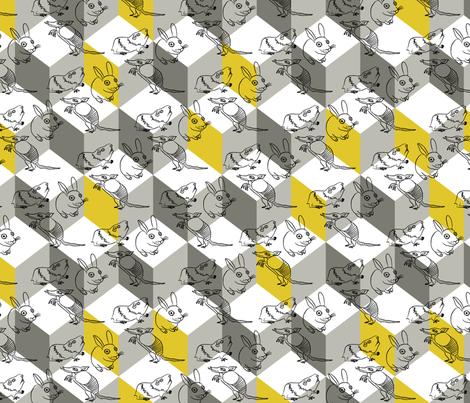 bunnybox_yellow fabric by zoomorphik on Spoonflower - custom fabric