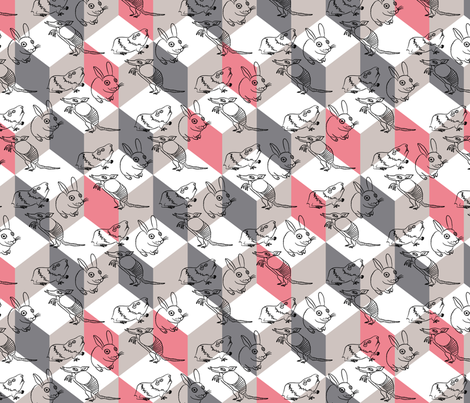 bunnybox_pink fabric by zoomorphik on Spoonflower - custom fabric