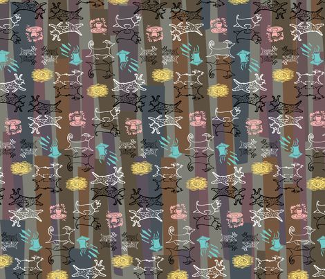 cafepooch_brown fabric by zoomorphik on Spoonflower - custom fabric