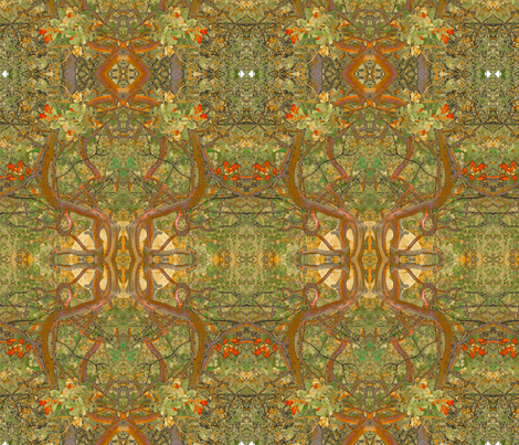 Art Nouveau Bushes in Brown fabric by ciswee on Spoonflower - custom fabric