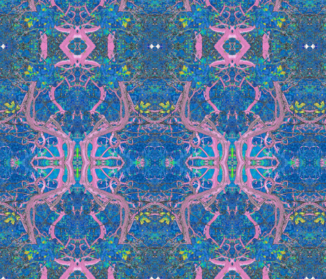 Art Nouveau Bush in Navy & Pink fabric by ciswee on Spoonflower - custom fabric
