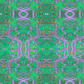 Art Nouveau Purple and Green Plants