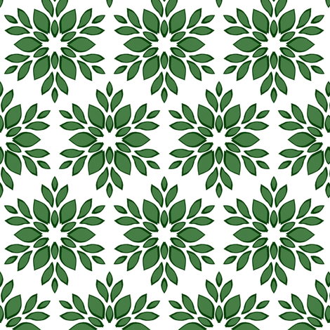 Stylized Green Floral fabric by themadcraftduckie on Spoonflower - custom fabric