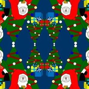 Santa Christmas Trees and Presents Fabric #4