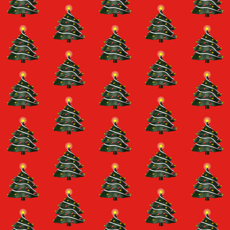 Christmas Tree on Red fabric by mollywog2 on Spoonflower - custom fabric