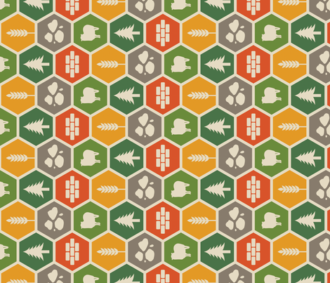 Catan on Beige - Rotated fabric by meglish on Spoonflower - custom fabric